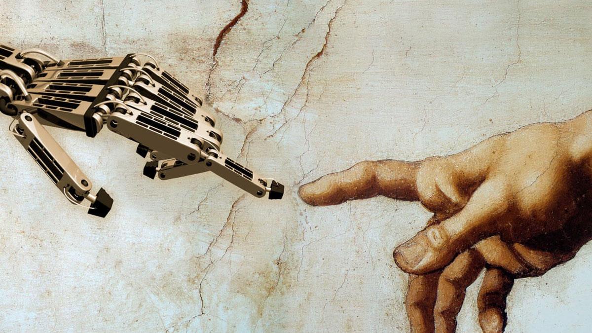 Robot hand touching human hand